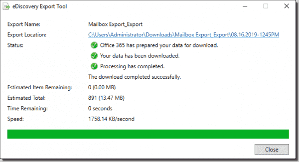 Successful download of exported .pst files
