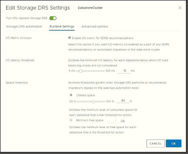 VMware SDRS runtime settings