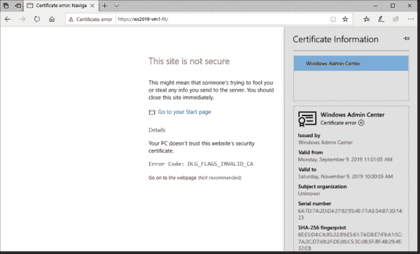 WAC's self signed certificate leads to browser warnings