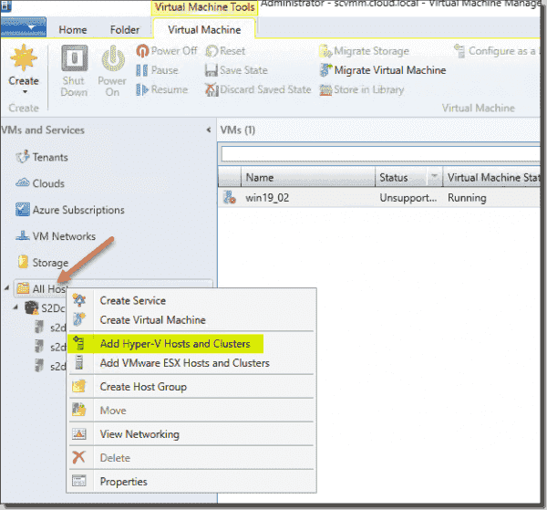 Add Hyper V hosts and clusters in SCVMM 2019