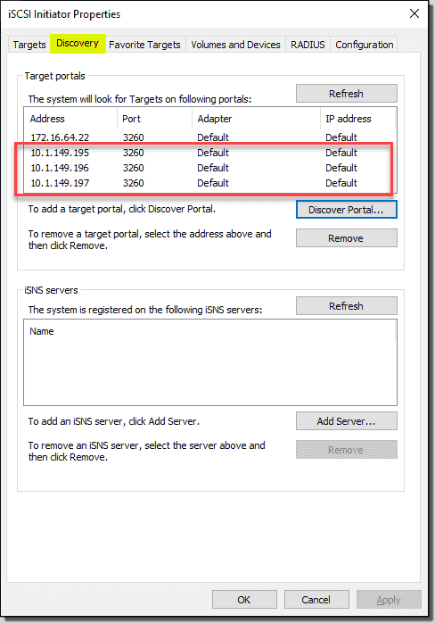 Add all the ESXi iSCSI targets to the WSFC host