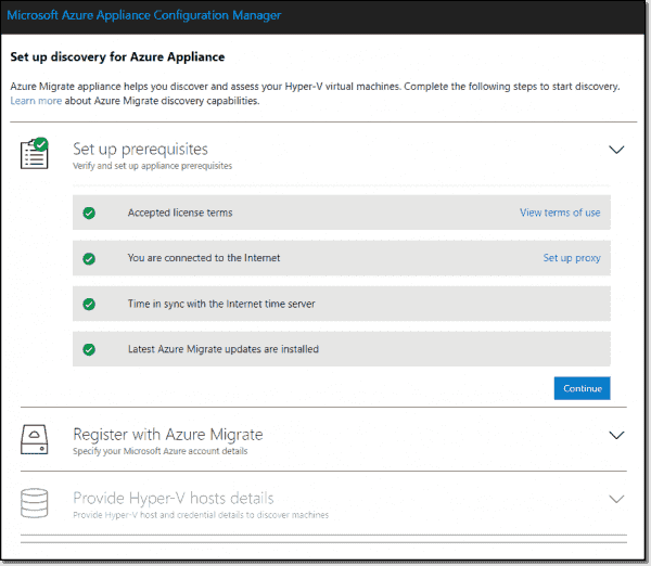 Azure Migrate Appliance set up prerequisites