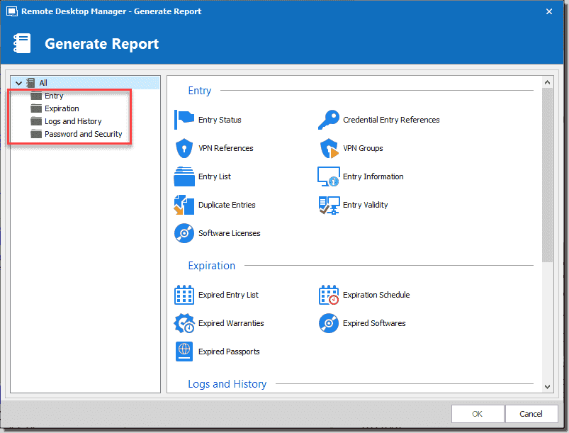 Choose a report to generate