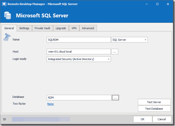 Configuring a SQL Server database for storing RDM teams
