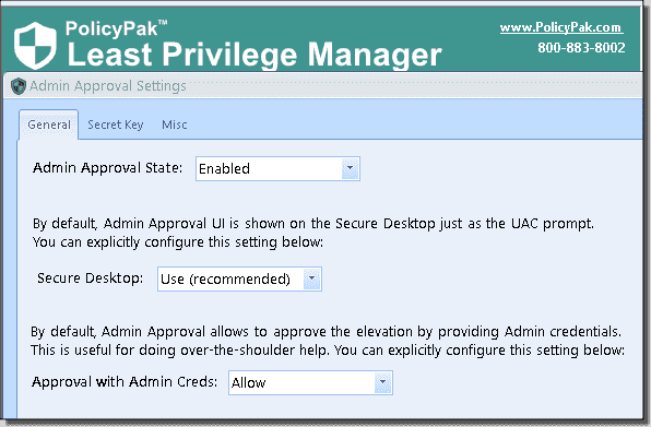 Configuring admin approval and secret key settings in PolicyPak