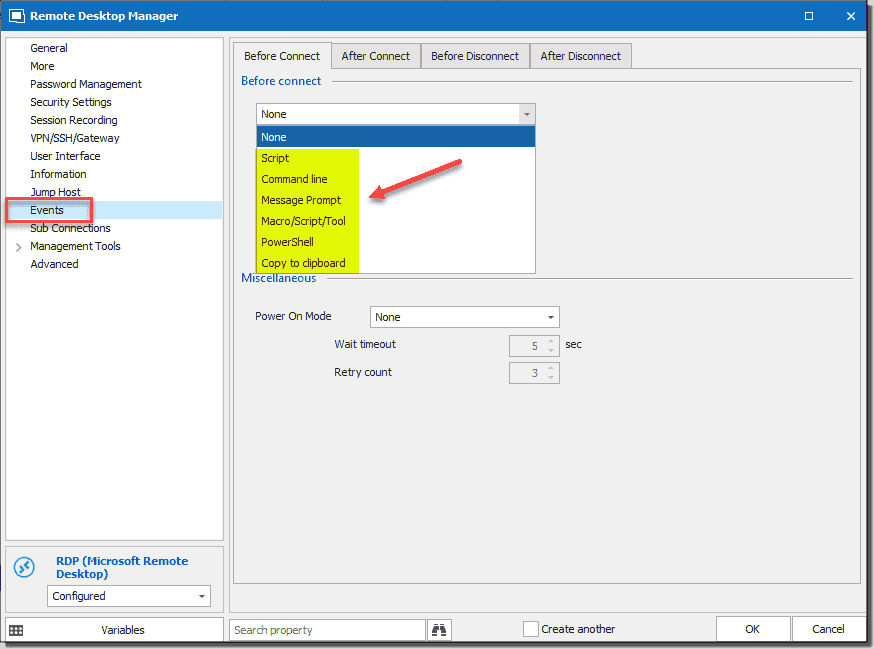 Configuring events before and after connect and disconnect