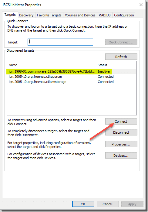 Connect the discovered vSAN iSCSI target