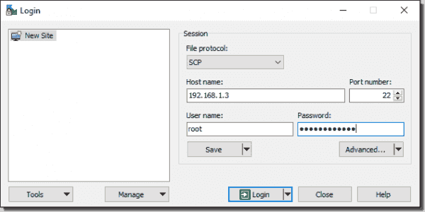 Connect to ESXi via WinSCP