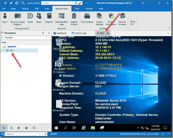 Connecting to a saved RDP session in Remote Desktop Manager