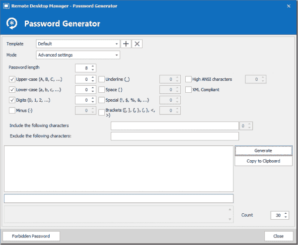 Customizing password criteria using the password generator