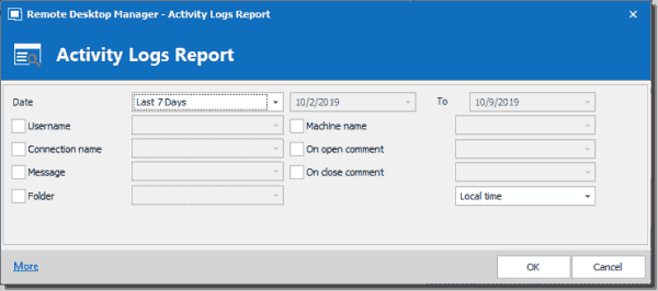 Customizing the report chosen