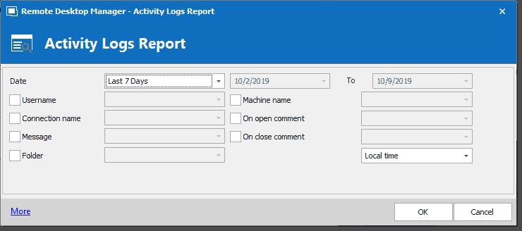 Customizing the report chosen