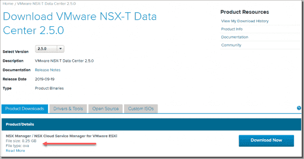 Download the NSX T Manager Cloud Services Manager