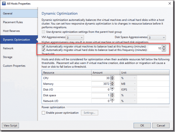 Enable Dynamic Optimization for a host group in SCVMM