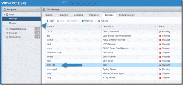 Enable SSH on ESXi