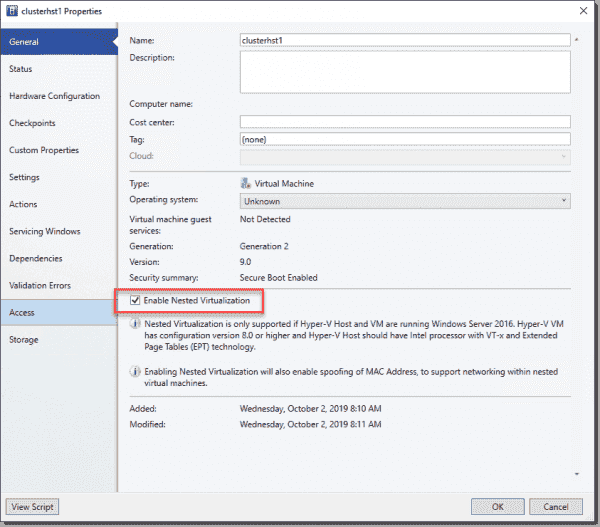 Enable nested virtualization on a VM with SCVMM