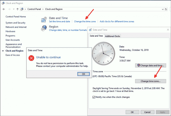 Even as an administrator, you cannot change the time zone via the Control Panel