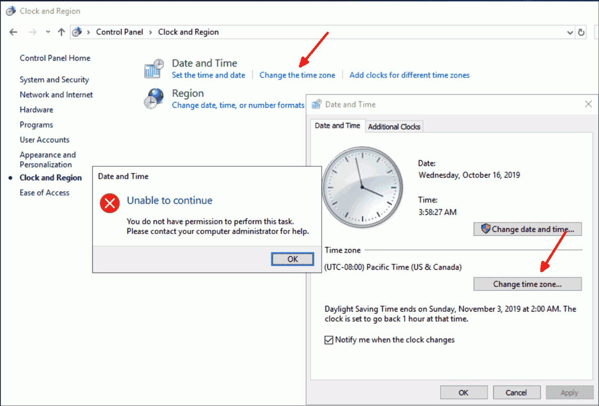 Error changing time zone in Windows Server 2019: Use the command line or PowerShell instead