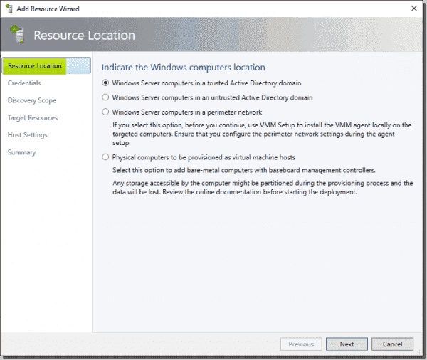 Indicate the location of the Hyper V host under Resource Location