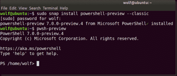 Installing PowerShell 7 from Snap