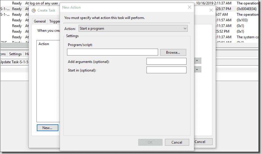 Managing tasks in the GUI