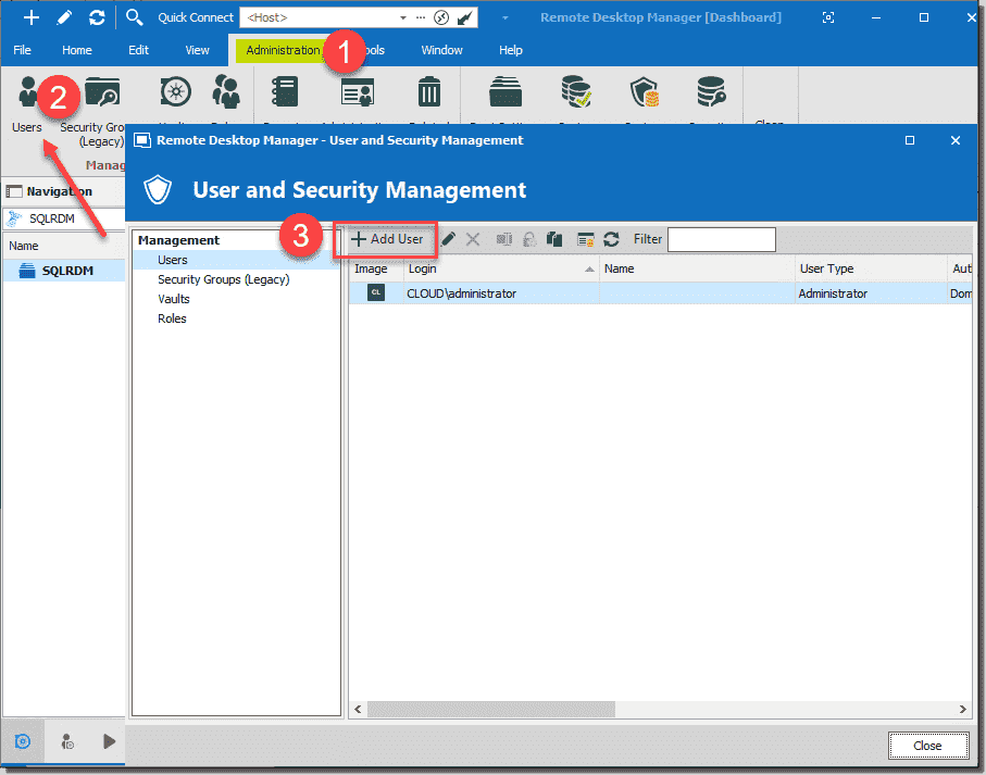 Managing users and security with Remote Desktop Manager