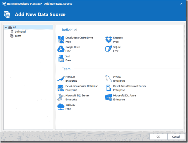 Remote Desktop Manager supports multiple data source storage locations