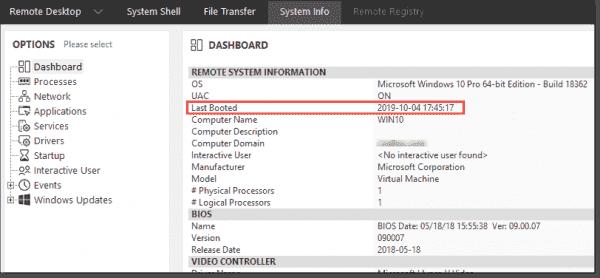 Remote client system information
