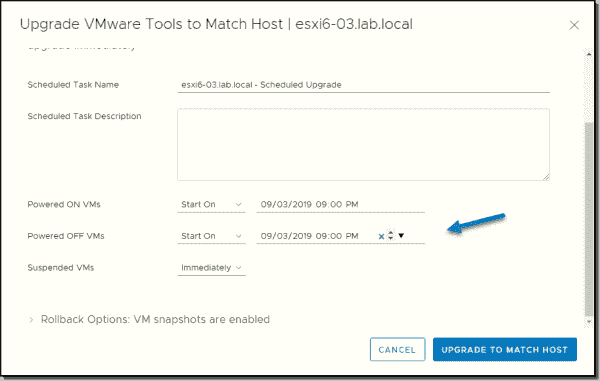 Scheduled upgrade of VMware tools