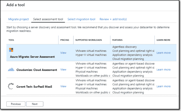 Select assessment tool