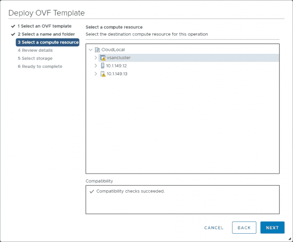 Select the compute resource for the NSX T Manager appliance
