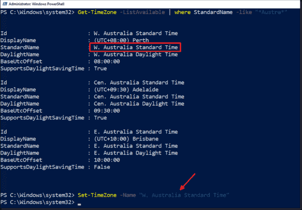 Setting a new time zone using PowerShell