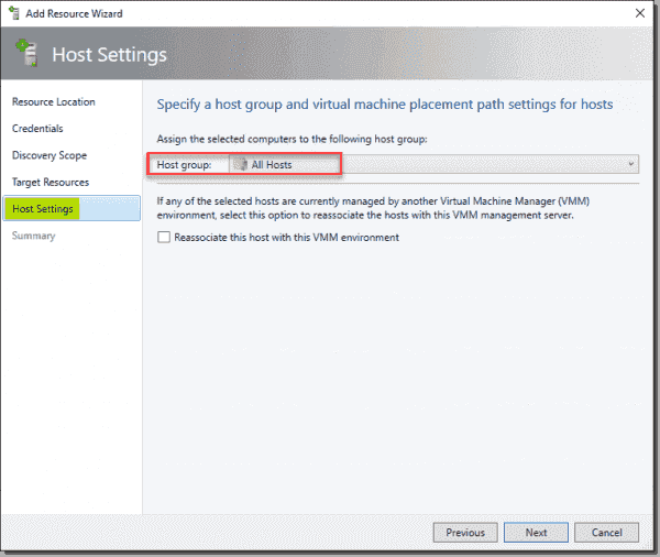Specify the host group in SCVMM for the Hyper V hosts and cluster