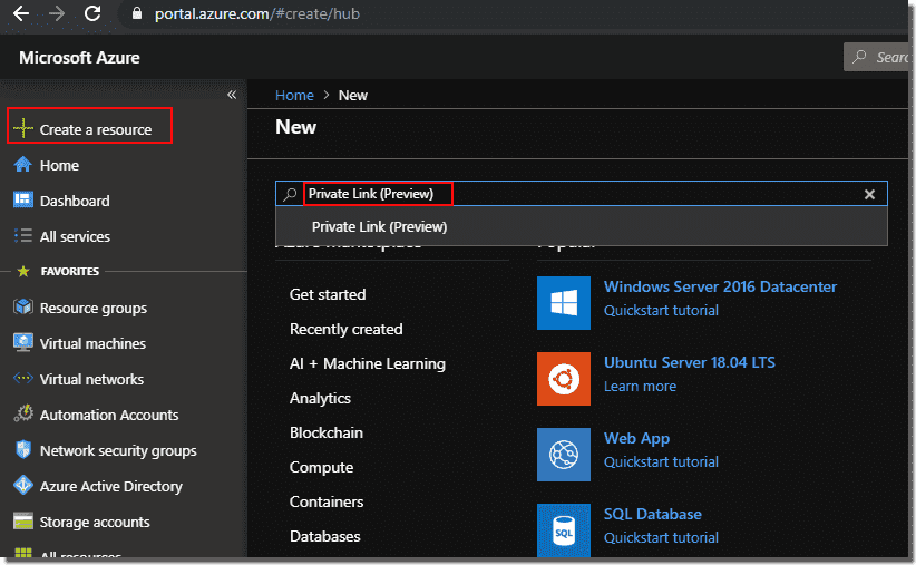 The Private Link service can be deployed via the Azure portal