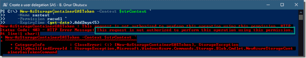 The Storage Blob Data Contributor role must be assigned to create a user delegation SAS token