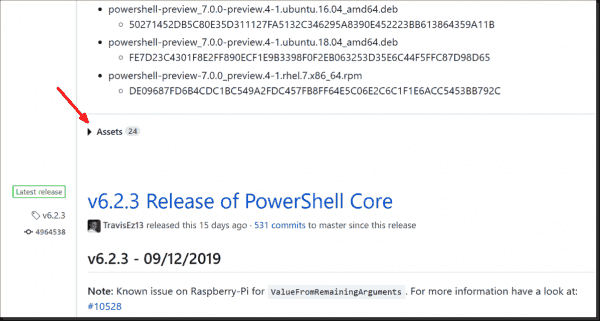 The download files for PowerShell 7 are hidden in the collapsed Assets section