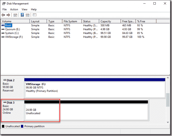 The new vSAN iSCSI disk is online and ready to use on the WSFC host