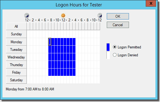 Use Logon Hours to restrict user's ability to logon