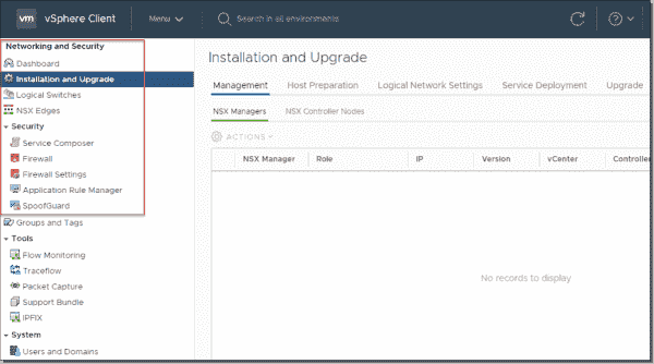 VMware NSX V plugin can be accessed in the vSphere client