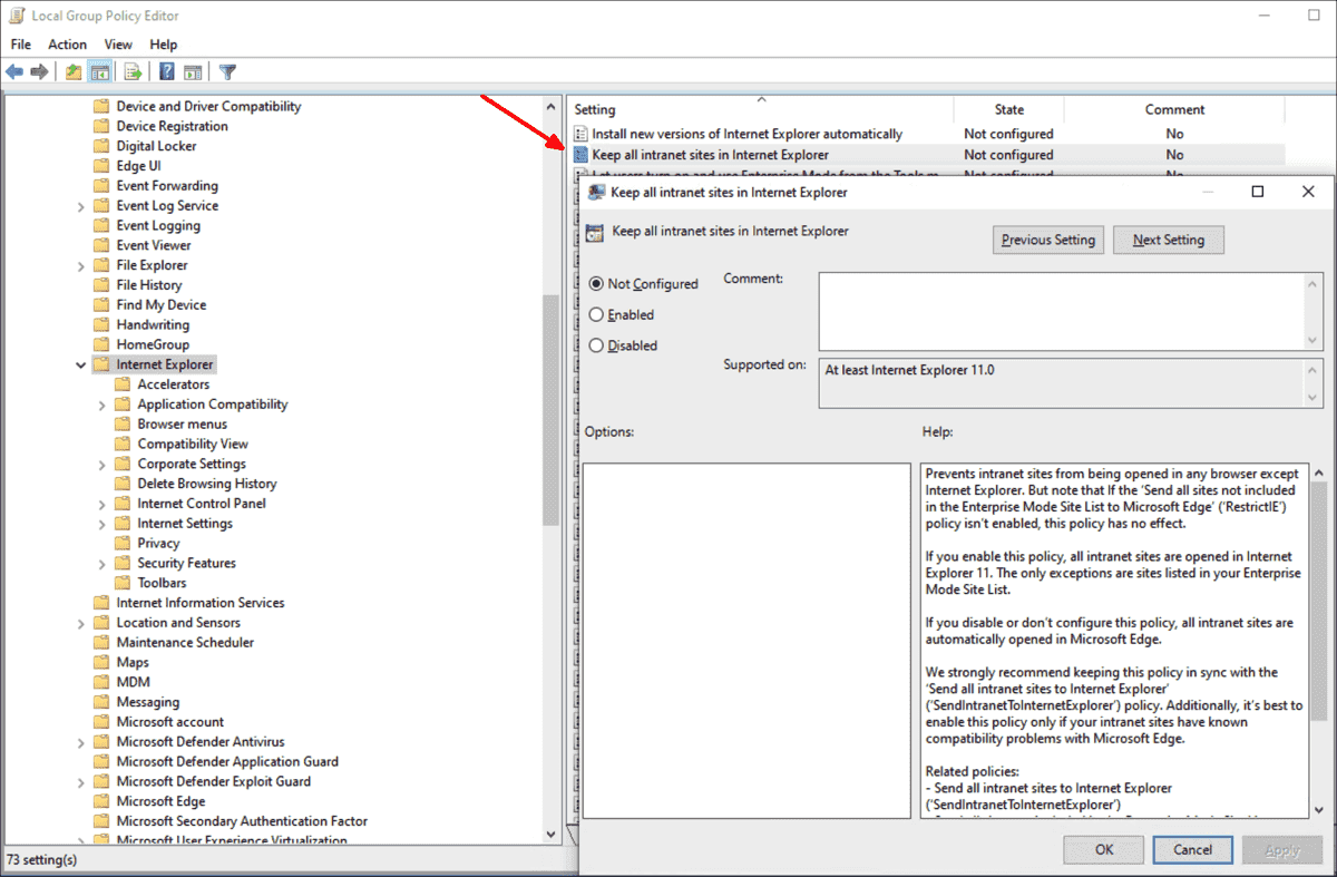 Group Policies in Windows 10 1909: ADMX download, three new