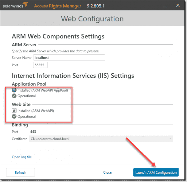 After applying the certificate, launch the ARM configuration utility