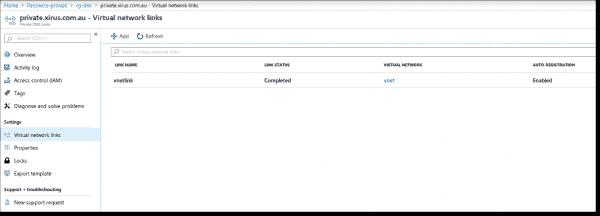 Azure DNS VNet link