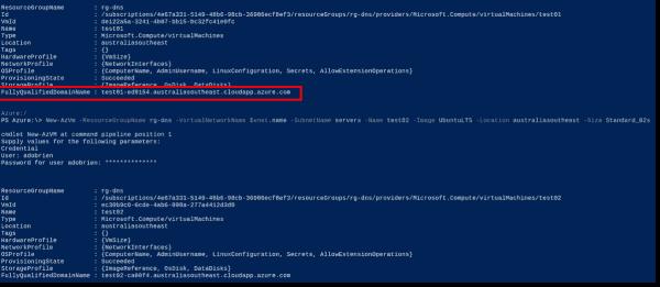 Azure VM information