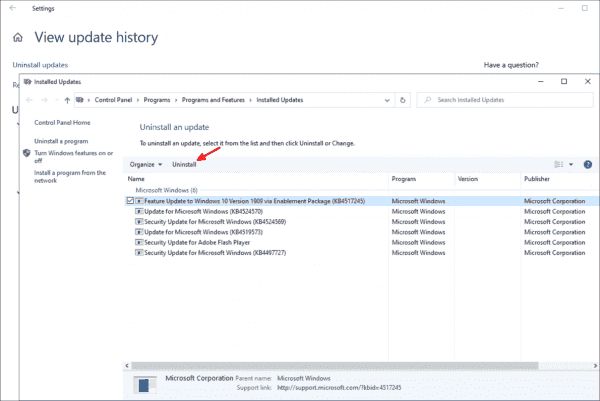 By removing the Enablement Package, you can reset Windows 10 1909 to 1903