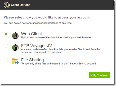 Choose your client option for accessing Serv U