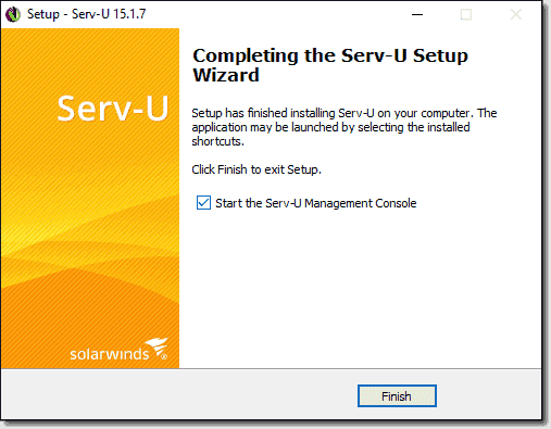 Completing the Serv U MFT Server installation