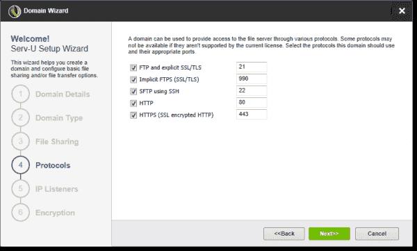 Configure Serv U protocols and ports