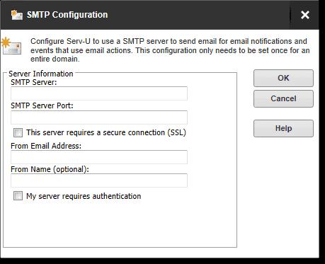 Configure the SMTP server for the Serv U domain