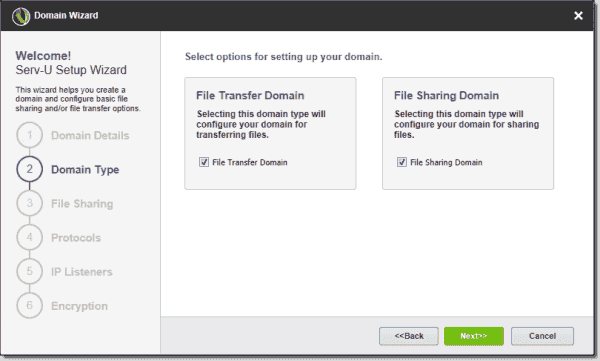 Configure the domain type