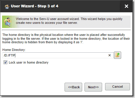 Create a user home directory